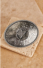 Montana Silversmiths Texas Star Antique Silver Buckle