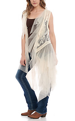 Origami Women's Ivory Lace Duster