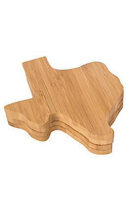 Texas Products Bamboo Texas Shaped Coaster Set