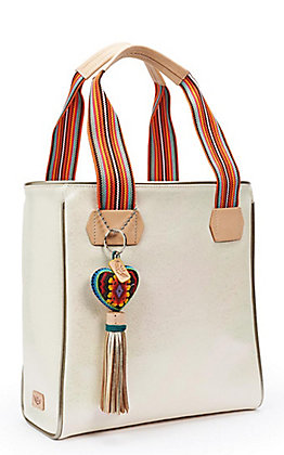 Consuela Laurel Iridescent Pearl with Heart Tassel Charm Classic Tote