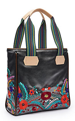 Consuela Gunmetal with Floral Embroidery Classic Tote Bag