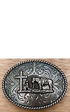 Montana Silversmiths Antique Silver Christian Cowboy Oval Buckle