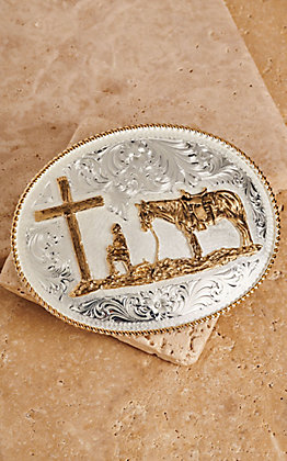 Montana Silversmiths Two-toned Christian Cowboy Oval Buckle