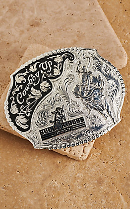 Montana Silversmiths Silver Bull Riders Only Scalloped Buckle