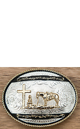 Montana Silversmiths Two-toned Christian Cowboy Western Buckle