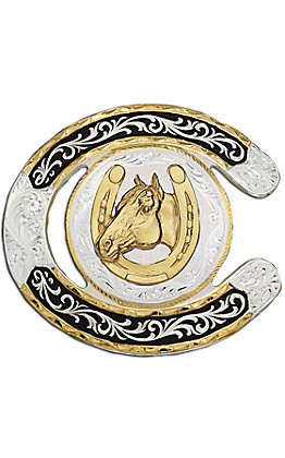 Montana Silversmiths Horseshoe With Horse Two-toned Buckle