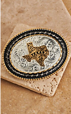 Montana Silversmiths Tri-colored Oval Texas and Barb Wire Buckle