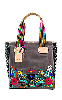 Consuela Women's Silver Lake Black with Floral Embroidery Classic Tote