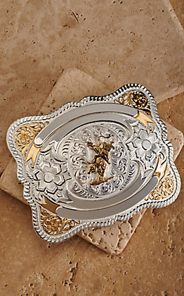 Montana Silversmiths Silver and Gold Bull Rider Teton Trophy Buckle