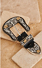 Montana Silversmiths 3 Piece Two-toned Filigree Buckle Set