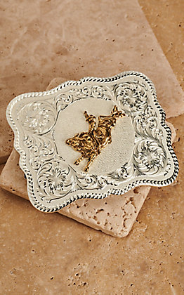 Montana Silversmiths Scalloped Two-Toned Rectangular Bull Rider Buckle