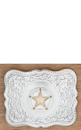 Montana Silversmiths Scalloped Silver Western Belt Buckle with Round Star Concho