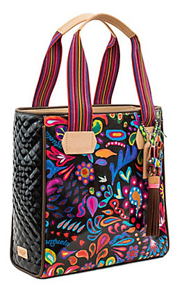 Consuela Angie Multi-Colored Floral Print with Quilted Sides Classic Tote