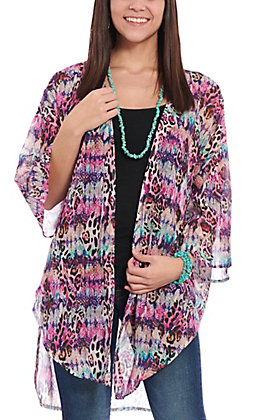 Grace & Emma Women's Multi Color Animal Print Kimono