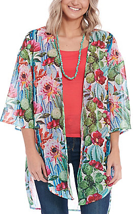 Grace & Emma Women's Cactus Print Kimono