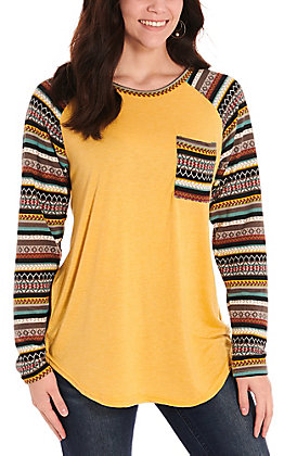 Grace & Emma Women's Mustard with Aztec Pocket and Long Sleeves Casual Knit Top