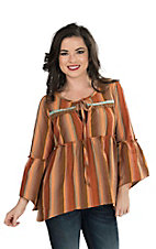 Ivy Jane Women's Rust Striped Yoke Style Long Bell Sleeve Peasant Fashion Top
