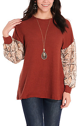 Grace & Emma Women's Rust Waffle Knit with Sheer Snake Long Balloon Sleeves Casual Knit Top