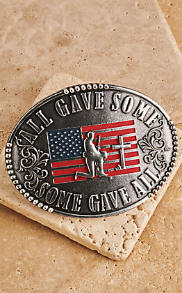 AndWest Antique Silver All Gave Some, Some Gave All Patriotic Belt Buckle