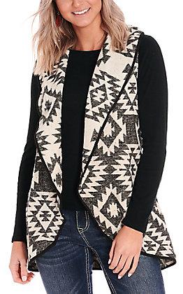 Grace & Emma Women's Black & White Aztec Vest
