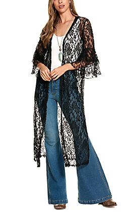 Grace & Emma Black Lace Kimono