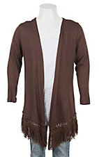 Jody Preteen Girl's Brown with Fringe Hem 3/4 Sleeve Cardy
