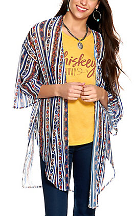 Grace & Emma Women's White with Blue and Red Aztec Stripes 3/4 Sleeve Kimono