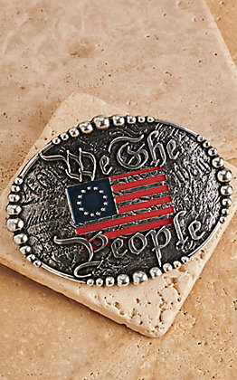 AndWest Antique Silver We The People Patriotic Belt Buckle