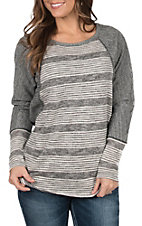 Hem & Thread Women's Charcoal Texture Striped Lace Top