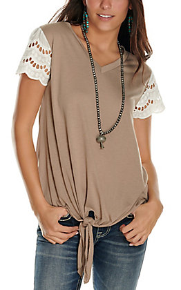 Grace & Emma Women's Taupe Tie Front with White Lace Short Sleeves Casual Knit Tee