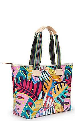 Consuela Maya Palm Print Zipper Tote Bag