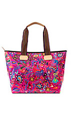 Consuela Pink Swirly Zipper Tote