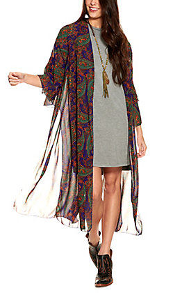 Grace & Emma Women's Blue with Rust and Green Paisley Print Tiered Sleeves Duster Kimono