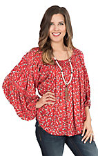 Ivy Jane Women's Red Floral Print with Long Cinched Sleeves Fashion Top