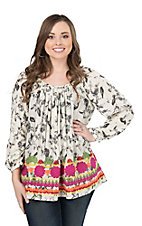 Ivy Jane Women's Ivory and Grey Bird Print with Floral Embroidery and Long Cinched Sleeves Fashion Top