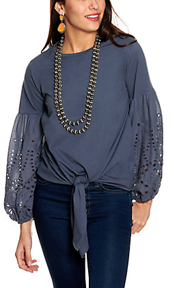 Grace & Emma Women's Blue Tie Front Long Sleeves with Eyelets Knit Top