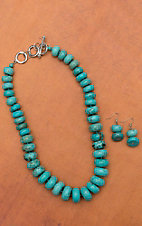 Turquoise Graduated Disc Necklace and Earring Set