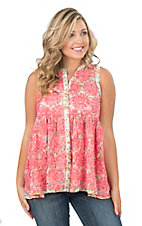 Ivy Jane Women's Pink Floral Print Button Down Sleeveless Fashion Top