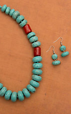 Turquoise & Red Disc Necklace and Earring Set