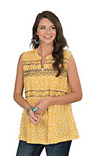 Ivy Jane Women's Yellow Floral Fashion Top