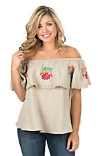 Ivy Jane Women's Natural with Floral Embroidery Ruffle Fashion Top
