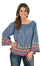 Ivy Jane Women's Denim Peasant Top with Embroidery