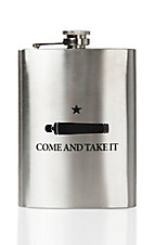 Silver Come and Take It Stainless Steel Flask