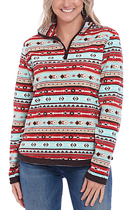 Outback Trading Co. Women's Red & Turquoise Aztec Print Pull Over Jacket