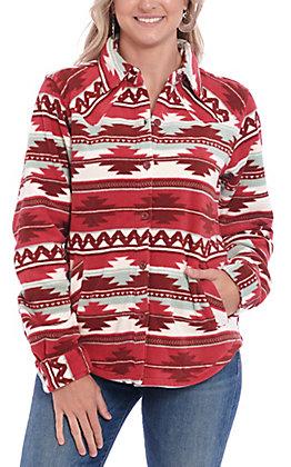 Outback Trading Co. Women's Burgundy Aztec Print Fleece Shirt Jacket