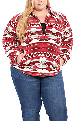 Outback Trading Co. Women's Burgundy Aztec Print Fleece Shirt Jacket - Plus Sizes