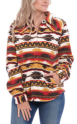 Outback Trading Co. Women's Red Aztec Print Shirt Jacket