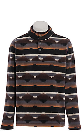 Outback Trading Co. Men's Charcoal Aztec Print Pull Over Jacket