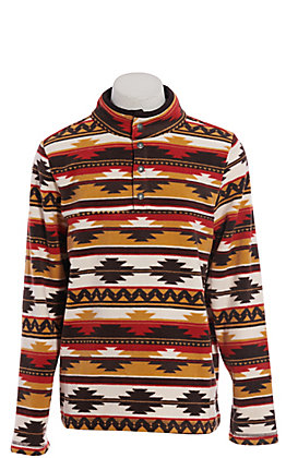 Outback Trading Co. Men's Mustard Aztec Print Pull Over Jacket