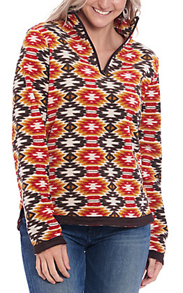 Outback Trading Co. Women's Mustard Aztec Print Pull Over Jacket